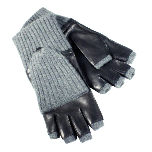 leather and knit fingereless mittens