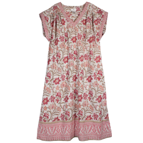 Cotton Voile Nightie in Coral Thistle