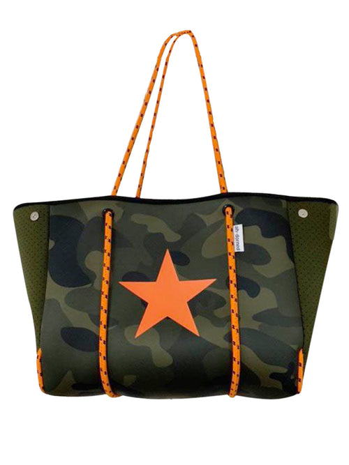 Neoprene Tote in Army Camo/Orange Star