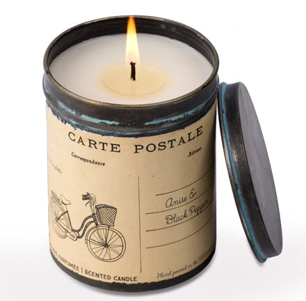 Vintage Bicycle Postcard Tin Candle in Anise & Black Pepper
