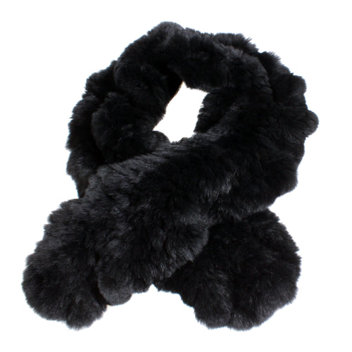 black fur ruffle scarf