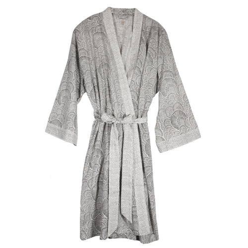 Short Kimono in Black/White cotton
