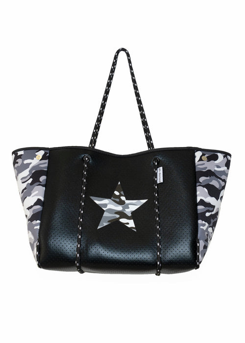 Neoprene Tote in Camo Star Black