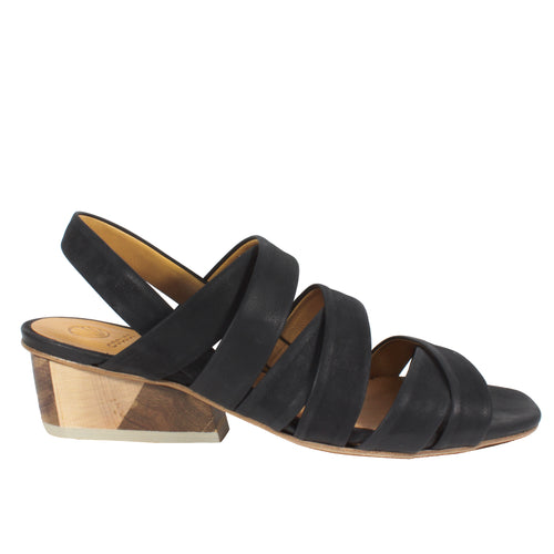 Oboy in Black/Tri wooden heel sandals