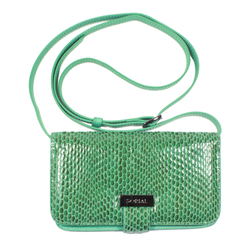 Rubina Cell Phone Bag in Emerald convertible