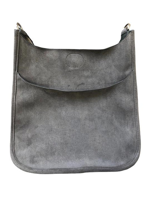 Mix & Match Faux Suede Messenger in Grey