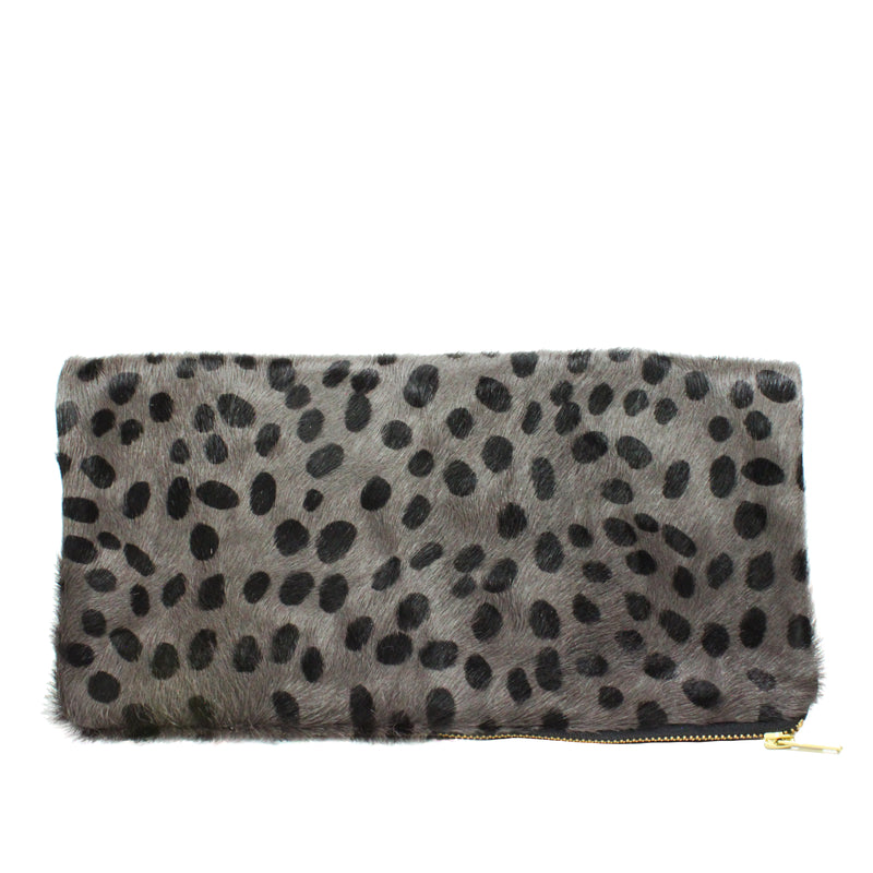 foldover clutch dalmation hair