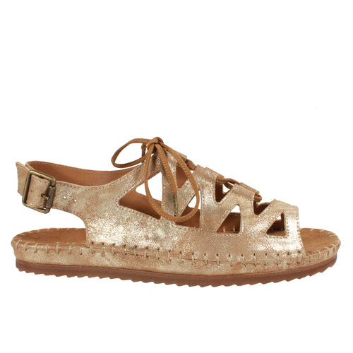 pretty metallic gold flat sandals trask