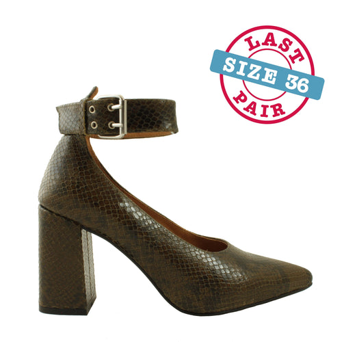 Jane Ankle Snake in Green