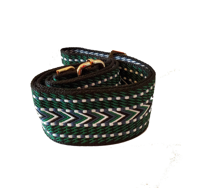 Mix & Match Bag Strap in Black/Green/White Woven