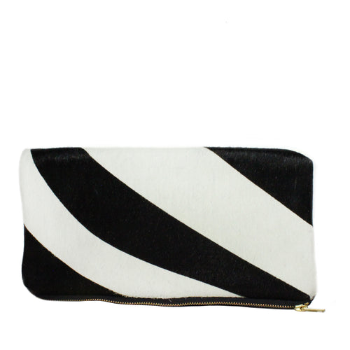 Hyde Foldover Clutch in Zebra
