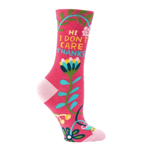 Hi. I Don't Care Crew Socks