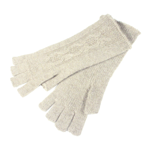 natural cream fingerless gloves