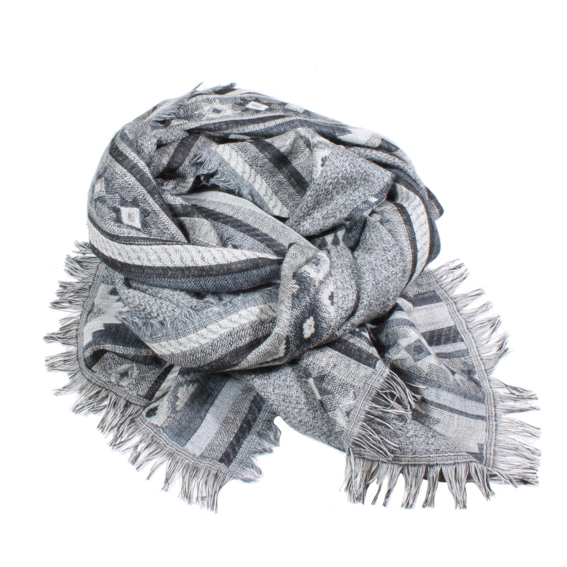 aztec grey black scarf