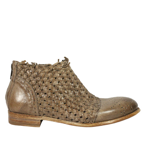 woven taupe booties leather