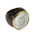 wooden ring howlite white stone