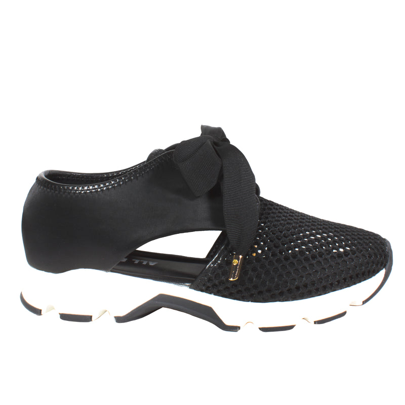 Cutout Satin Mesh in Black womens