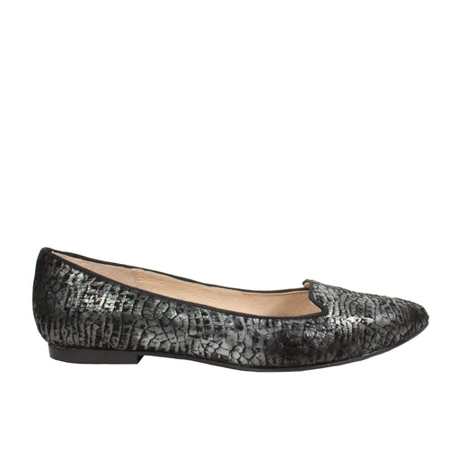 Crackle in Black Snake pointy flats