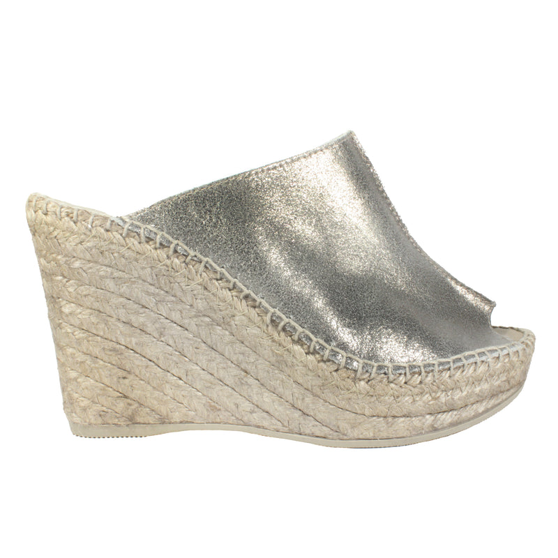 Cici in Pewter silver wedge espadrille