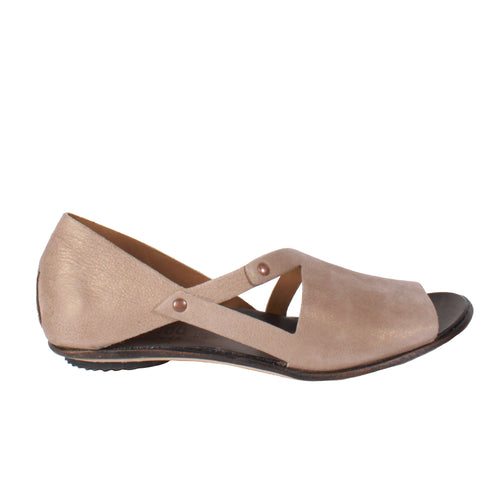 Peaceful in Pearlized Tan peep toe flats