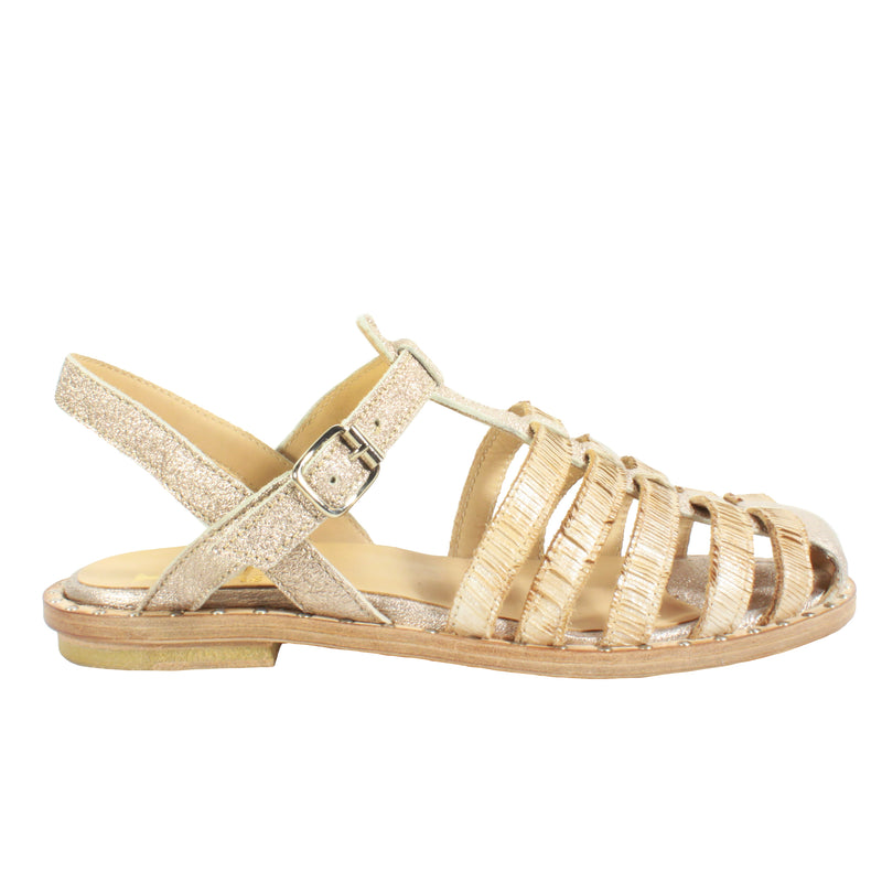 3400 in Natural/Gold tan flats sandals