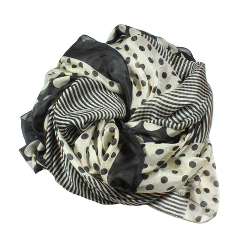dots and stripes silk scarf