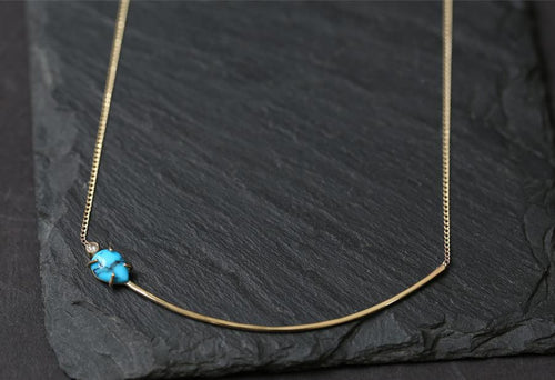 N166 Asymmetrical Turquoise and Diamond Necklace