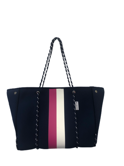 Neoprene Tote in Navy/Pink/White Stripe