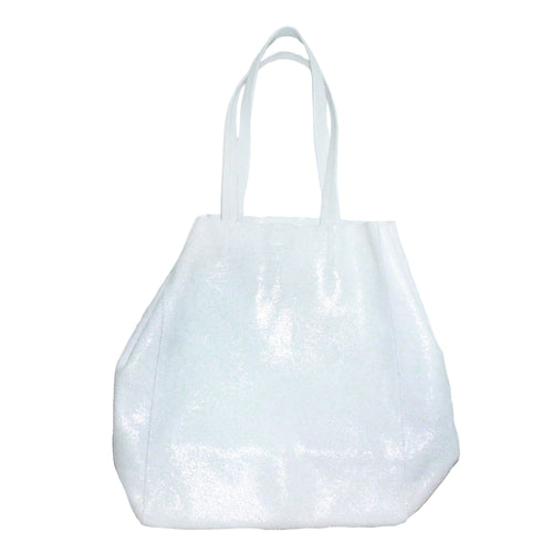 white leather oceana tote