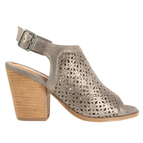 pretty pastel perforated metallic high heels peep toe