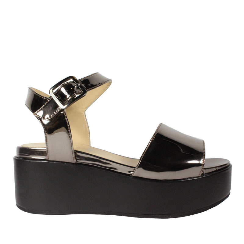 patent leather pewter sandals cordani