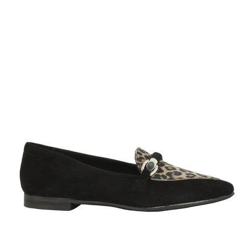 Ethel in Black Suede/Leopard