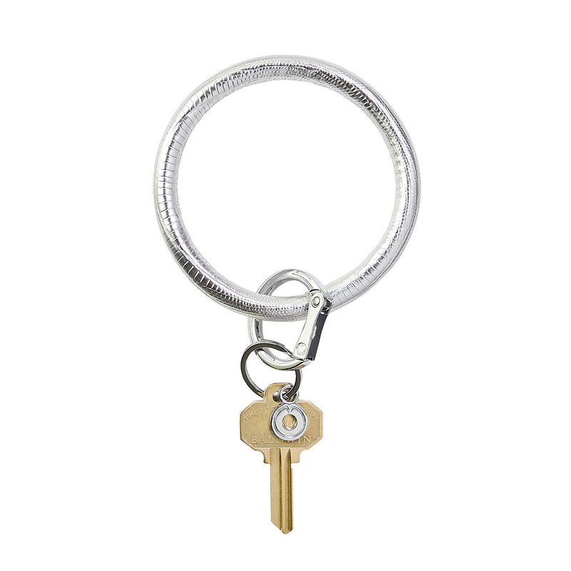 Big O Leather Key Ring in Quicksilver Lizard