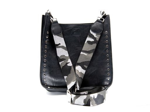 Studded Messenger Bag in Black/Silver Camo