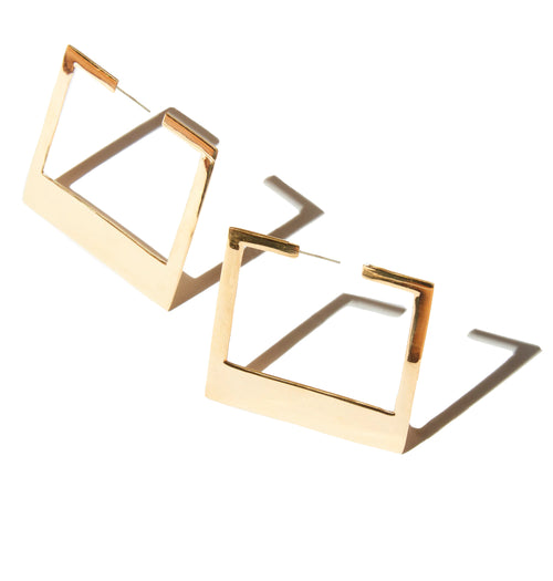 Small Frame Earrings in Brass