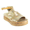 distressed metallic platform sandals