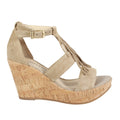 Rooney in Taupe fringe suede wedge
