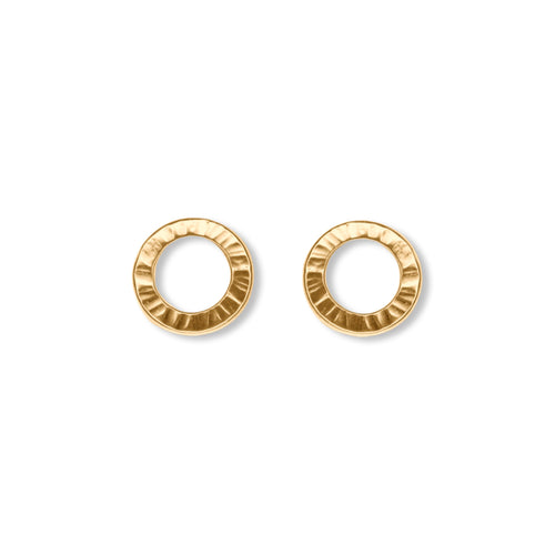 Textured Circle Studs in Gold Vermeil