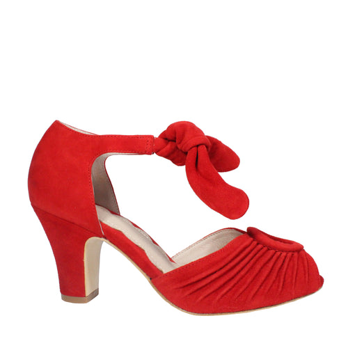 red vintage heels peep toe