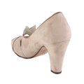 tan suede vintage high heel peep toe