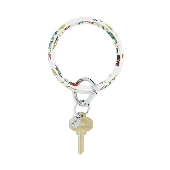 Big O Leather Key Ring in White Floral