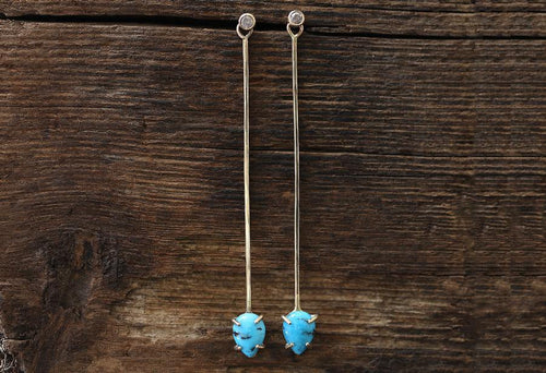 E166 Turquoise + Diamond Long Earring Jackets by Alexis Russell in 14K