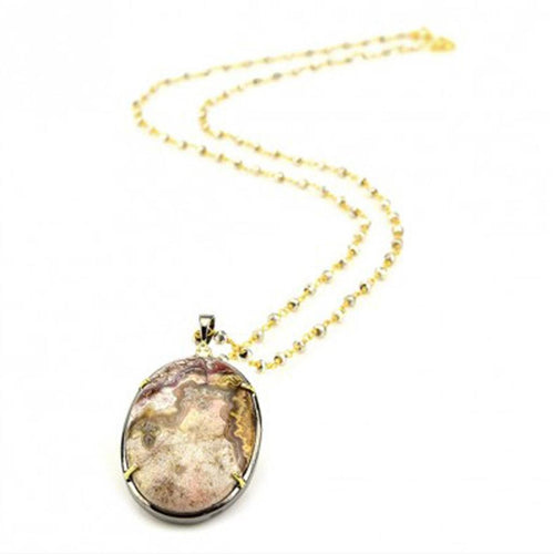 N1649-GOG-AG Oval Agate Necklace by Robindira Unsworth