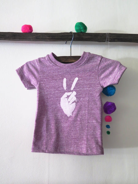 'PEACE SIGN' KIDS TEE (HEATHER LILAC)