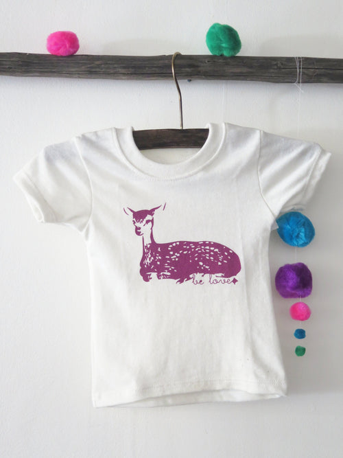 'BE LOVE FAWN' KIDS TEE (NATURAL)