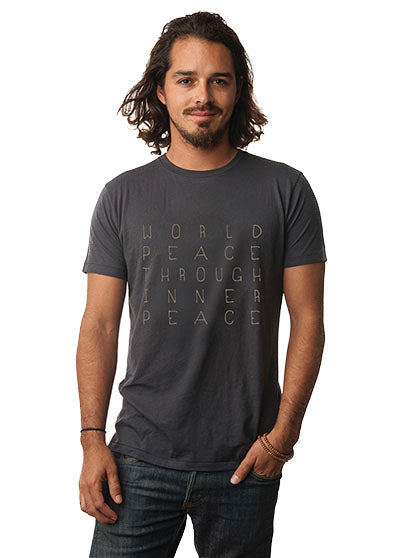 'WORLD PEACE THROUGH INNER PEACE' MENS ORGANIC TEE