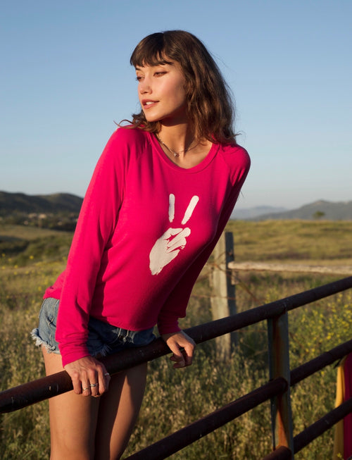'PEACE SIGN' ULTRA-SOFT RAGLAN SWEATER - CORAL