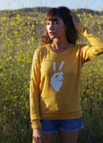 'PEACE SIGN' ULTRA-SOFT RAGLAN SWEATER - TUMERIC