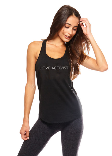 'LOVE ACTIVIST' SHIRT-TAIL TANK TOP