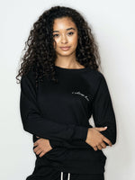 'I Choose Love' Ultra-Soft Modal Fleece Sweatshirt (Jogger Set Top) - Black